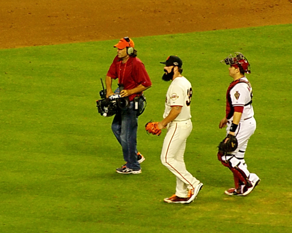 2011 MLB All-Star Game - Pitching Battery of Brian Wilson and Miguel Montero take a victory lap._by_Al_HikesAZ